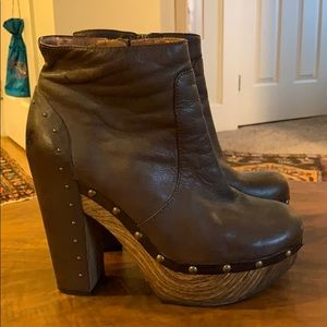 Lucky Brand brown leather clog heeled boots